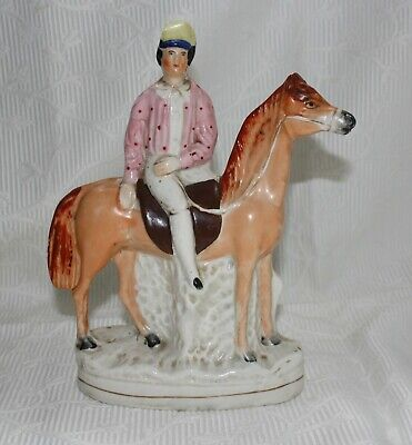 Antique Staffordshire Pottery Figurine, Man On Horse • 25£