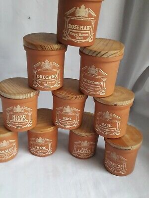 Royal Barum Ware Herb Pots  X 10 With Wooden Lids  - Seals Intact • 40£