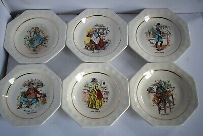 WADE CHARLES DICKENS Character Plates . Set Of Six All Different. • 12.99£