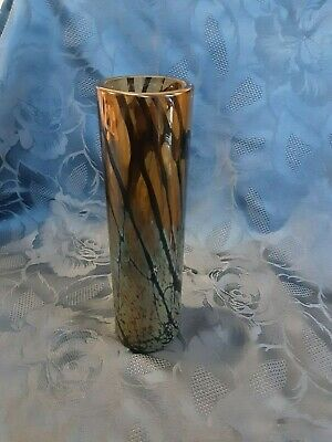 Tall 8.25 Inches Okra Art Glass  Orion  Vase Brown Black Silver VGC • 9.99£