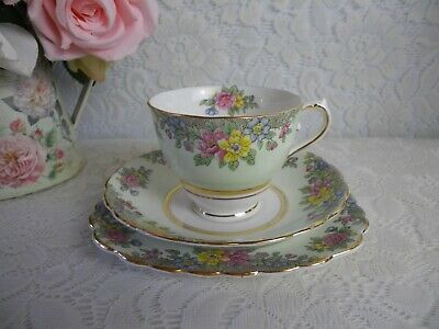 Colclough Bone China Trio, Pale Green Ground, Floral Border, Very Good Condition • 8.50£