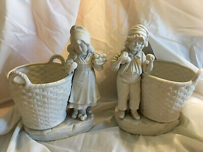 Unusual Pair Of German Parian Boy And Girl With Basket Vases Marked Germany 2077 • 64.99£