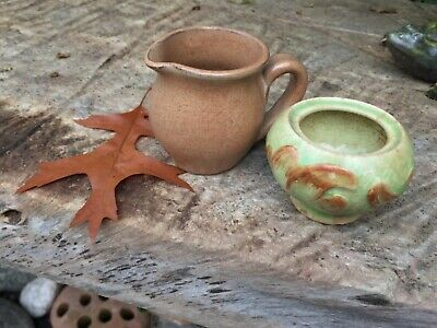 ANTIQUE/ EARLY 20thC  MINIATURE POTTERY JUG AND BOWL POSSIBLY DENBY • 16.50£