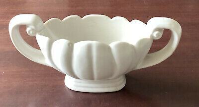 """Small WADE VASE/PLANTER. Wide Narrow Urn Shaped. White. 15.5 Cm / 6¼"""" Wide • 4£"""