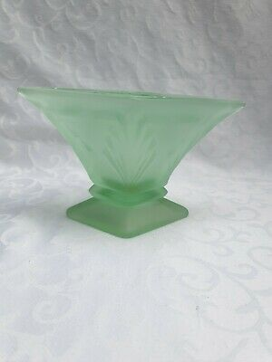 Art Deco Frosted Green  Glass. Bagley Spinette Posy Vase/centrepie & Frog 1930's • 25£