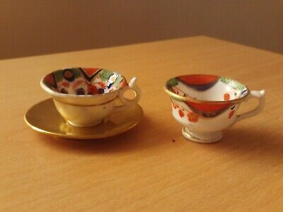 Vintage Miniature Gold Painted Saucer & X2 Odd Cups. • 9.99£
