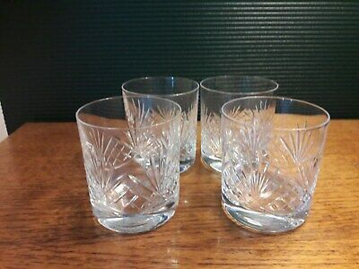 4 Whiskey Crystal Glasses - Perfect • 6£