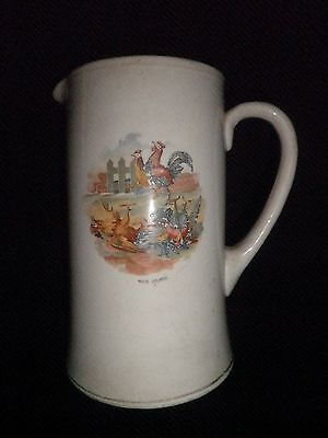 Antique Large Pottery Jug Pitcher Ewer Cockerels Roosters Design Unmarked Piece • 7.99£