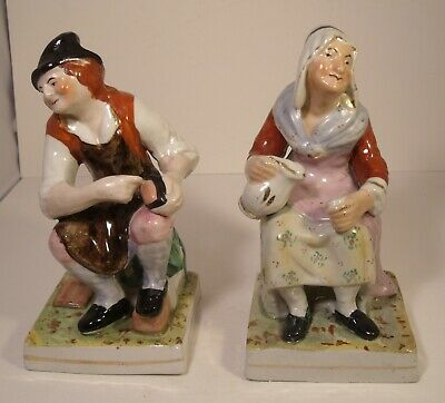Pair Of Staffordshire Figures 19th Century Cobbler And Wife • 14.99£