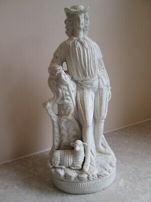 Antique Large Parian Ware Figure Of A Shepherd With Lamb  C.1860 • 19.99£