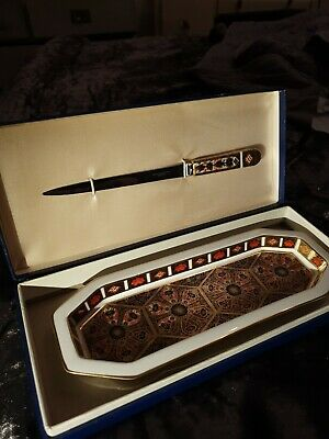 Royal Crown Derby Letter Opener And Tray Imari Stationary Tray  • 40£