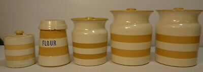 Set Of 5 Original Cornish Kitchenware By TG Green Storage Jars & Flour Jar • 31£