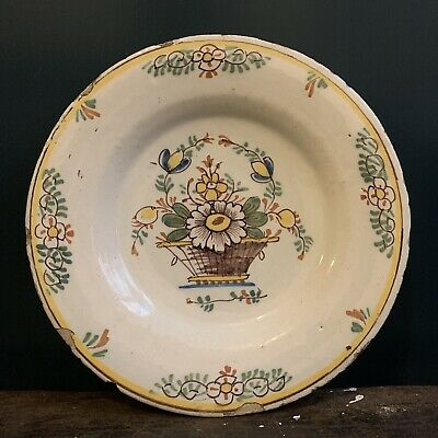 Antique Polychrome Delft Charger 18th Century C1740 English Possibly Liverpool • 95£
