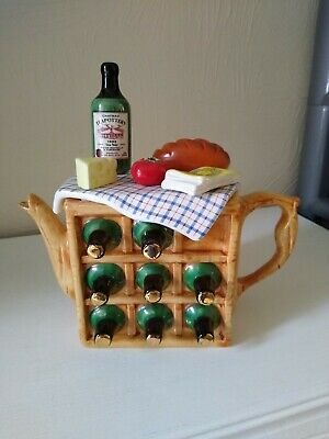 Large Rare French Wine Rack Picnic Novelty Teapot Teapottery Swineside Signed • 16£