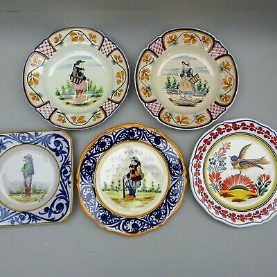 5 ~ Vintage Quimper Pottery Plates & Bowls ~ Hand Painted French Faience • 39.99£