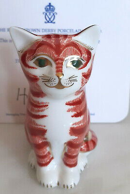 Royal Crown Derby Paperweight Limited Edition, Boxed Gold Stopper Ginger Kitten • 35£