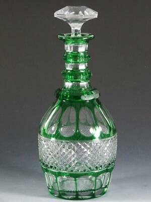 St Louis Crystal TRIANON Green Cut To Clear Decanter • 256.01£