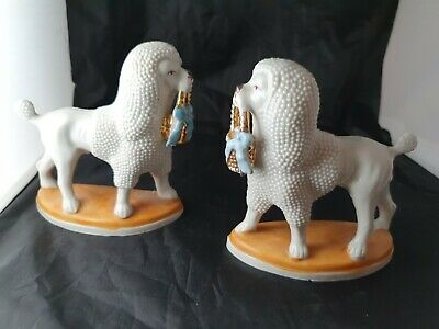 Staffordshire Flatback Pair Of Poodle Dog Figurines 2596 • 50£