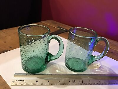 Pair Of Whitefriars  Green Bubble Glass Tankards • 10£