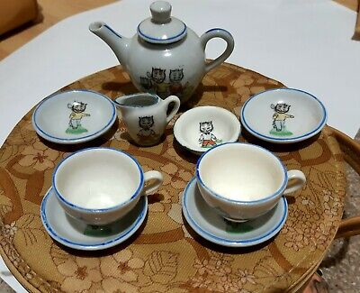 Pretty Vintage 1930's Children's Tea Set Cat Decoration Good Condition  • 12£