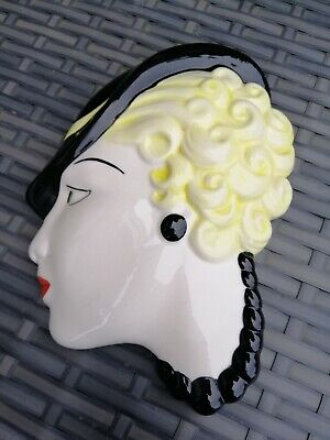 Moorlands Pottery Art Deco Face Wall Hanging Signed On The Back  • 29.99£