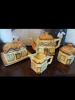 Vintage Keele Pottery Cottageware Teapot Set With Butter Dish • 12£
