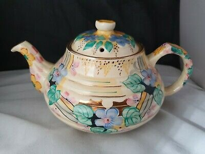 Charlotte Rhead Pottery 697 Yellow Floral Decorative Ribbed Teapot  • 60£