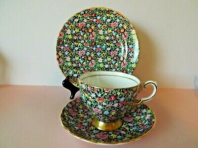 Vintage Tuscan China Mille Fleurs Chintz Cup Saucer And Side Plate Trio • 16£