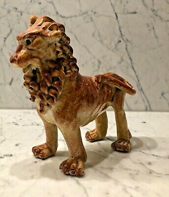 Vintage Treacle / Brown Glazed Standing Lion Figurine. French Or Italian? • 29.99£