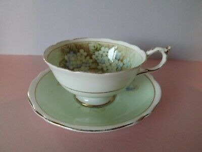 Vintage Paragon Mint Green With Blue Hydrangea Cup And Saucer ~ Double Warrant • 35£