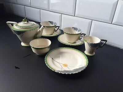 Burleigh Ware Art Deco Hand Painted Zenith Tea For Two Set  Dawn Pattern . • 125£