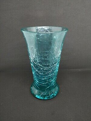 Rare Hand Blown Vintage 7  Crackle Glass Vase Aquamarine • 10£