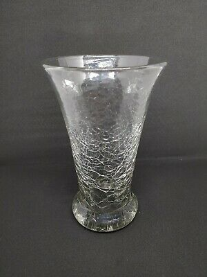 Rare Hand Blown Vintage 7  Crackle Glass Vase Clear / Grey • 10£
