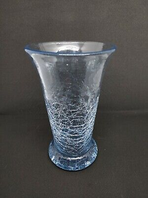 Rare Hand Blown Vintage 7  Crackle Glass Vase Sky Blue • 10£