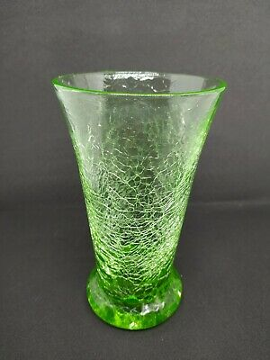 Rare Hand Blown Vintage 7  Crackle Glass Vase Lime / Neon Green • 10£
