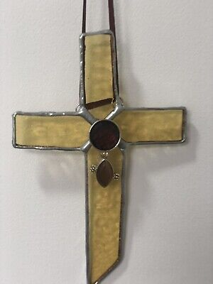 Cross/Crucifix Stained Glass Suncatcher With Embellishments • 10.99£