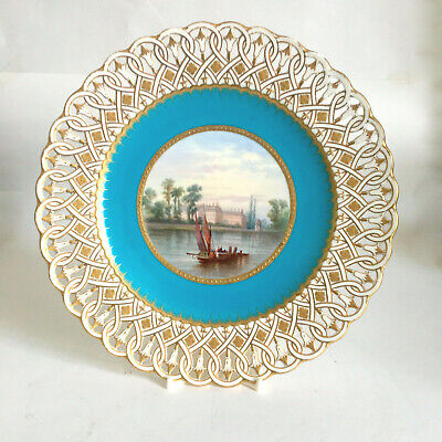 Antique Minton 1865 Cabinet Plate  Handpainted View Chelsea Hospital Reticulated • 375£