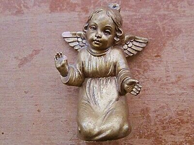 Ceramic Angel Figure - Small - Gold Coloured - Vintage - Unbranded - Italian • 2.99£