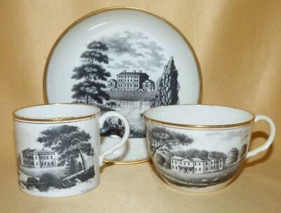 Hicks & Meigh Bat Printed Country House Scenes Trio 2 C1810-15 • 20£