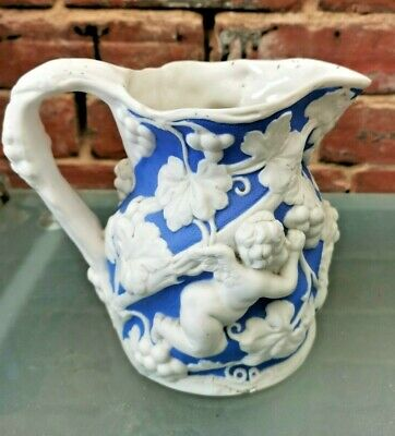 Antique Blue And White Relief Moulded Jug Possibly Samuel Alcock Repaired 18cms • 4.99£