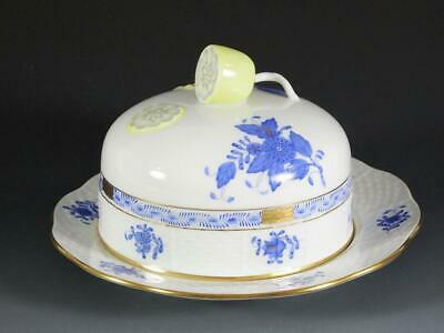 Herend Chinese Bouquet Blue Round Covered Butter Dish 391/AB- Mint Condition! • 165.67£