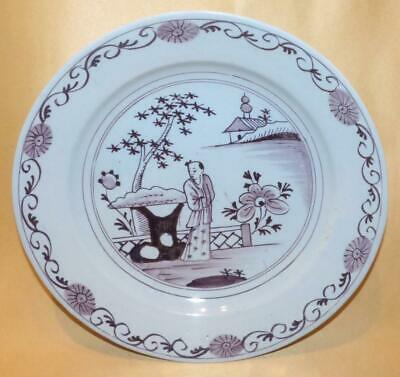 Delft Manganese Chinese Man In A Garden Scene Plate/dish C1760 • 50£