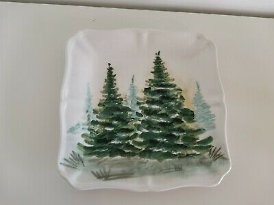 Maxcera Fir Tree Porcelain Plate Winter Xmas Theme Gift Collectable Decorative  • 7£