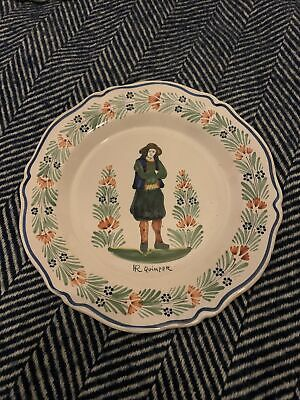 Antique French HR Quimper Pottery Plate Early 20th Century Faience • 28£