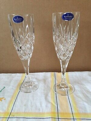 Royal Doulton Crystal X 2 Champagne Flutes Lovely Condition Used. • 20£