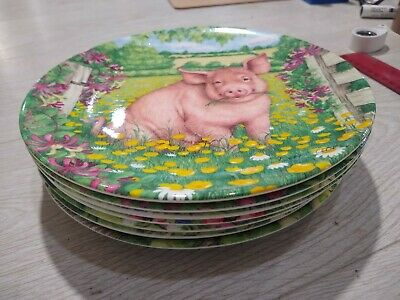 EIGHT X Royal Doulton Pigs In Bloom 8  Plates By Debbie Cook • 40£