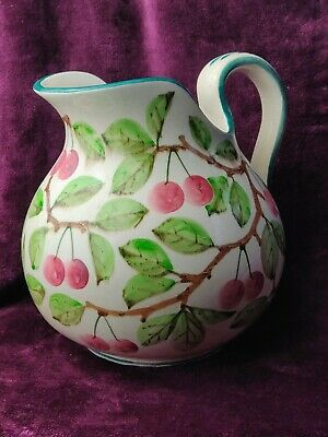 Antique Large Wemyss Scottish Fife Pottery Jug W Handpainted Cherries 10  H • 220£