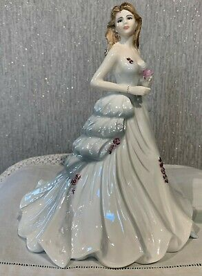 Coalport Lady Doll Silver Anniversary With Pink Rose Perfect • 59.99£