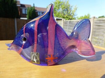 Langham Pink & Purple Glass Fish Signed By Paul Miller - British Studio Art - 39 • 28£