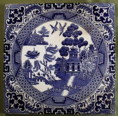 Antique Minton Pottery Willow Pattern Blue & White Tile • 24.99£